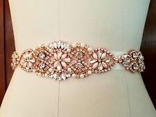 "Wedding Dress Sash Belt - ROSE GOLD Crystal Pearl SASH BELT = 13"" long"
