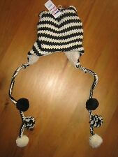 CLAIRES WINTER HAT BLACK/CREAM-FUR LINED-ANIMAL EARS BNWT
