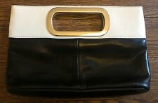 Vintage Clutch Bag by Jane Norman Monochrome Silver Pleather