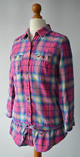 Ladies Hollister California Pink & Blue Checked Shirt Top Size XS