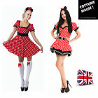Sexy Womens Halloween ladies Minnie Red Mouse Fancy Dress Costume S M L XL