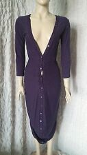 McQ by Alexander Mcqueen 100% cotton purple striped fitted asymmetrical dress