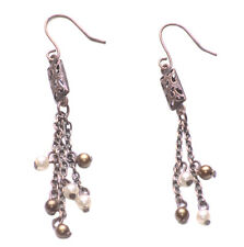 Rustic Copper/dual Stranded-White Bronze Pearl Metal Hook-on Earrings(Zx97/180)