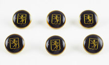Louis Feraud Paris Vintage Button goldtone black enamel lion logo set 6 pc
