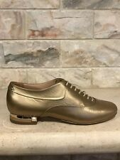 NIB Chanel 15A Gold Lace Up Leather Pearl CC Oxford Loafer Moc Flats 42 $1125