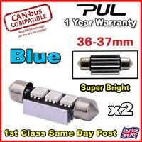 2x Blue ERROR FREE CANBUS 3 SMD LED 36mm / 37mm 239 272 C5W NUMBER PLATE BULB