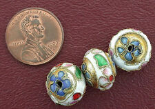 THREE 13.5MM FLORAL PUFFED ROUND CLOISONNE BEAD