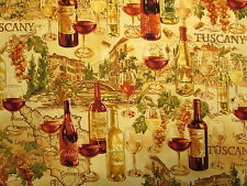 WINE BOTTLES GLASSES TUSCANY MAP NATURAL COTTON FABRIC BTHY