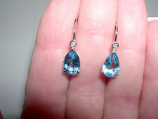 Pretty White Gold~Blue Topaz~Diamond Accent Pear Shape Drop Earrings~2.5CTS~10KT