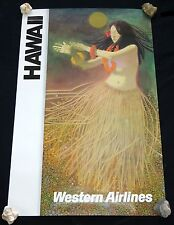 1960 Original Western Airlines Klimt Style Hawaiian Hula Dancer Poster (Hol)#34
