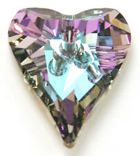 1 SWAROVSKI WILD HEART PENDANT 6240, SILVER VITRAIL, CUSTOM COATED, 27 MM