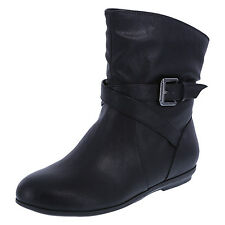 AMERICAN EAGLE Black MEADOWS Pull-On ANKLE Buckle Accent BOOTS SZ 12 WIDE ** NEW