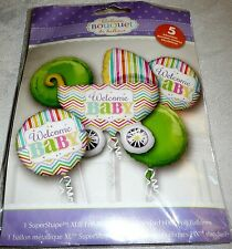 Anagram WELCOME BABY! with Baby Stroller Foil Balloon Bouquet 5 Balloons