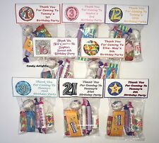 30 Personalised Sweet Bag WRAPPERS Birthday Party Favours 40th 50th 60th 70th