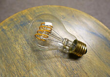 LOT: 4x LED Edison Bulb A19, Curved Vintage Spiral Loop Filament, 4watt (40w)