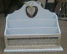 French Country Vintage Inspired Wooden Letter Holder Desk Tidy New