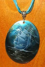 UNIQUE Russian hand painted SHELL pendant White Sails Boat at BLUE NIGHT SEA