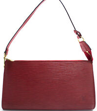 Louis Vuitton epi pochette accesorios pouch bolso Bag intemporal rojo red Rouge
