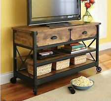 Rustic Vintage Pine Wood Metal TV Stand Industrial Country Media Console Center