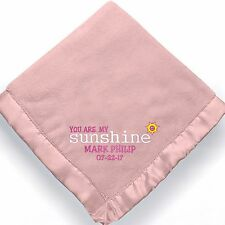 personalized baby girl blanket ~ Embroidered Baby girl blanket My Sunshine