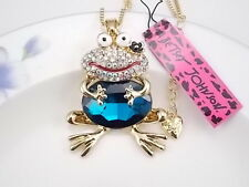 Betsey Johnson  Cute Frog Frog blue crystal pendant necklace # F340