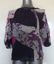 MONSOON, SIZE 8, GREY/PURPLE/PINK/GREEN PRINT BLOUSE/TOP, 100% SILK, PRE-LOVED