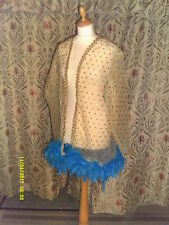 Drag Queen/Cabaret SHORT lemon coat with turq feathers