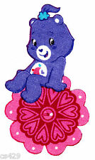 """4"""" PRETTY CARE BEARS ON A FLOWER FABRIC APPLIQUE IRON ON"""