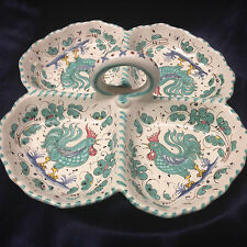 """DERUTA ITALY GREEN ROOSTER 4 PART SERVING DISH 10 3/4"""" GREEN FLORAL"""