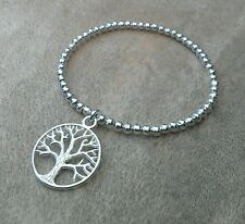 Silver Ball Beaded Tree Of Life Stack Stretchy Bracelet