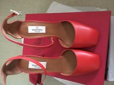 NIB Valentino Ankle-strap Club-on D'Orsay Red Pump-37.5 Made in Italy