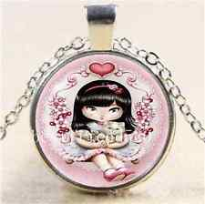 Little Girl And Cat Cabochon Glass Tibet Silver Chain Pendant Necklace
