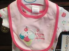 NWT/Cutie Pie Infant Girls Bodysuit/Bib/0-3 Mos/SCREAM FOR ICE CREAM/Adorable!