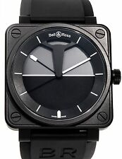 Bell Ross BR01 Horizon Auto PVD Steel Black Strap Mens Watch BR01-92-Horizon