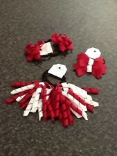 HANDMADE- GIRLS SCHOOL ACCESSORIES.PONYTAIL HAIR TIE. MAROON AND WHITE