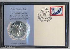 ONU MEDAGLIA argento United Nation FDC World Youth Assembly Silver Medal UN1970