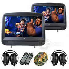 2 x Black Leather-Style Car DVD/USB/SD Headrests HD Touch Screen Ford C/S-Max