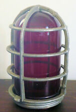 Vintage Crouse-Hinds Industrial Explosion Proof Light Cage & Red Glass Globe