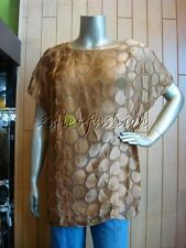 $2330 New with Tags PRADA Nocciola Polka Dot Viscose Silk Shirt Top 10 44