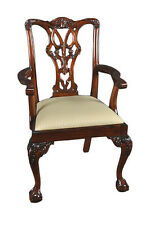 Set of 6 Hand Carved Solid Mahogany Wood Dining Chairs Chippendale
