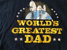 SNOOPY Peanuts Dog WORLD'S GREATEST DAD T Shirt Blue Large