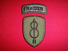 Set Of 2 US Army Subdued Patches: RAIDER + US 8th INFANTRY Division