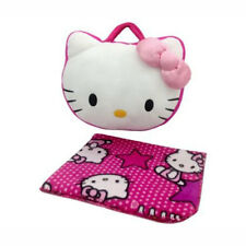2in1 Hello Kitty Pink Star Travel Throw Blanket w/ Pillow Bag by Sanrio NEW