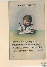 SOME FOLKS BOY WRITING LETTER PEN PAPER KID COMIC SMALLEY JERRY CITY OH POSTCARD