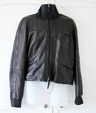 Emporio Armani Mens Black Leather Jacket Funnel neck L IT 50 UK 40 LOVELY Cond