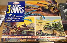 """VINTAGE 1957 AURORA """"3 ARMY TANKS"""" PANTHER, STALIN (BOTH SEALED) & M-46 PATTON"""