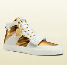 $980 MENS GUCCI SNEAKERS GOLD WHITE LEATHER HI-TOP STUDDED SHOES 11.5G 12.5 46