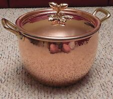 RUFFONI Historia Decor HAMMERED COPPER Stock Pot 4 1/2 QT   NEW   3102B-18 acorn
