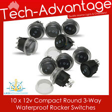 10 X 12V WATERPROOF 3-WAY ROUND ON/OFF/ON ROCKER SWITCHES - BOAT/CARAVAN/4X4