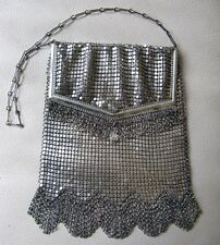 Antique Art Deco Silver T PRINCESS MARY Chain Mail Mesh Mesh Purse W&D